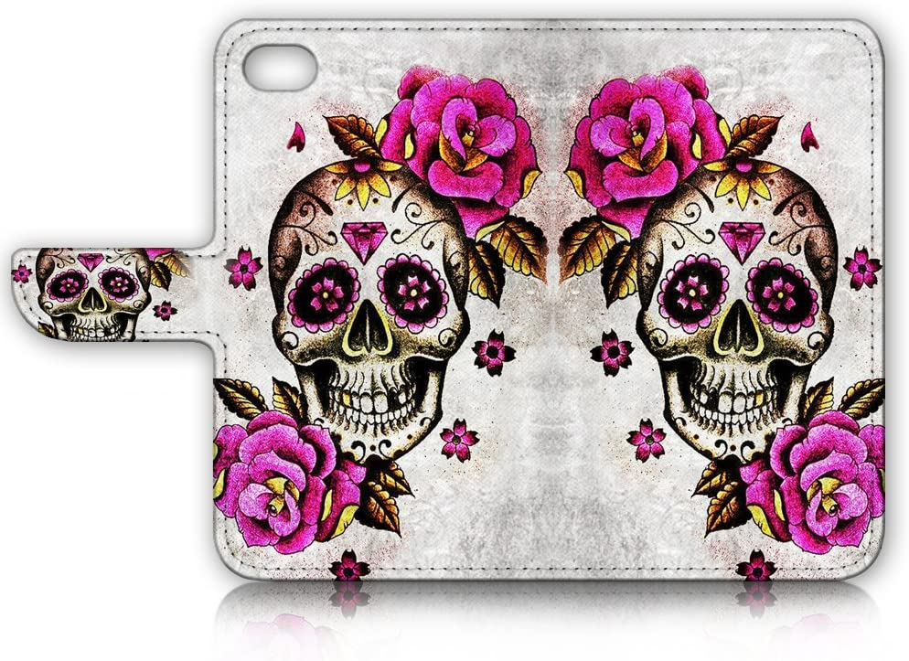 ( For iPhone 8 / iPhone 7 ) Flip Wallet Case Cover and Screen Protector Bundle A4141 Sugar Skull