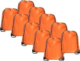 Threadart Drawstring Backpacks - Pack of 10 - Orange | Sports Cinch Sack String Backpack | For School, Gym, Storage & Travel | Large 15