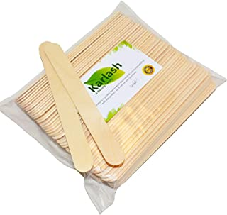 Karlash 100 Pieces Large Wax Sticks, Wood Waxing Craft Sticks Spatulas Applicators for Hair Removal Eyebrow and Body