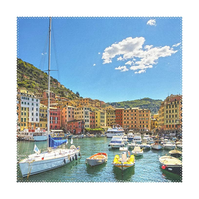 Lennel Motorboat Yacht Personalized Print Design Placemats,Washable Placemats for Dining Room Kitchen Table Decoration,12x12(in) ,Set of 4