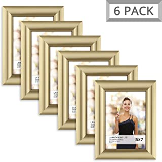 Langdon House 5x7 Picture Frame (6 Pack, Gold), Gold Photo Frame 5 x 7, Wall Mount or Table Top, Set of 6 Celebration Collection