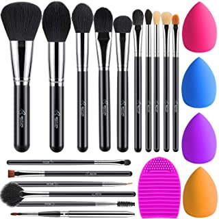 BESTOPE Makeup Brushes 16PCs Makeup Brushes Set with 4PCs Beauty Blender Sponge and 1 Brush Cleaner Premium Synthetic Foundation Brushes Blending Face Powder Eye Shadows Make Up Brushes Tool