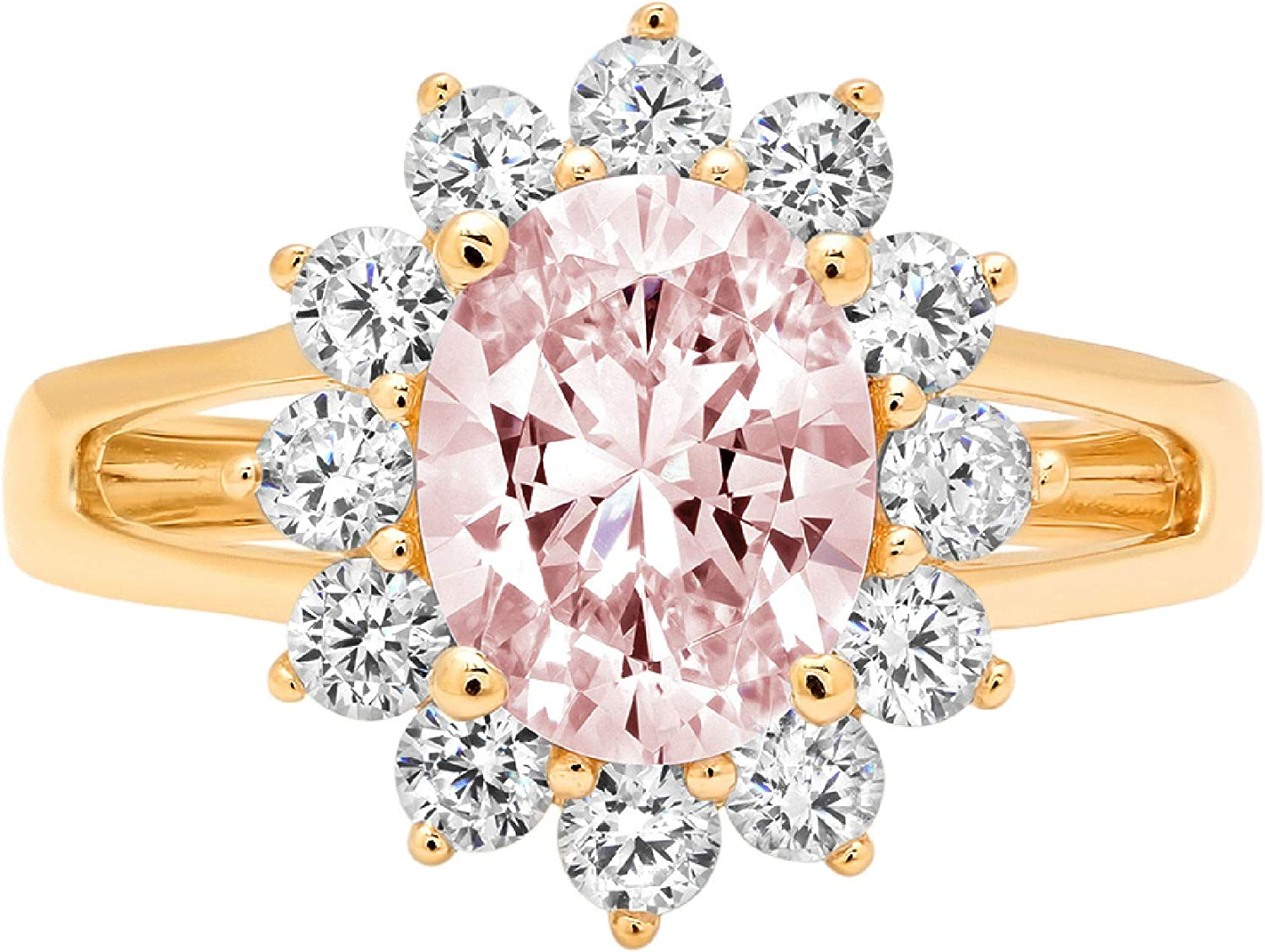 2.3ct Brilliant Max 51% OFF Max 66% OFF Oval Cut Solitaire with Pink Halo Accent V Ideal