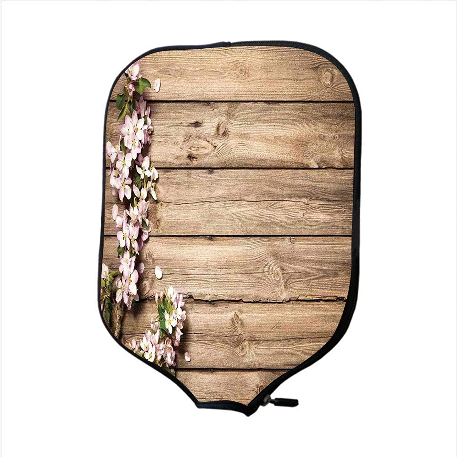 Fine Neoprene Pickleball Paddle Racket Cover Case,Rustic Home Decor,Sweet Spring Flowering Branch on Weathered Wooden Blooming Orchard,Pink Brown Green,Fit for Most Rackets