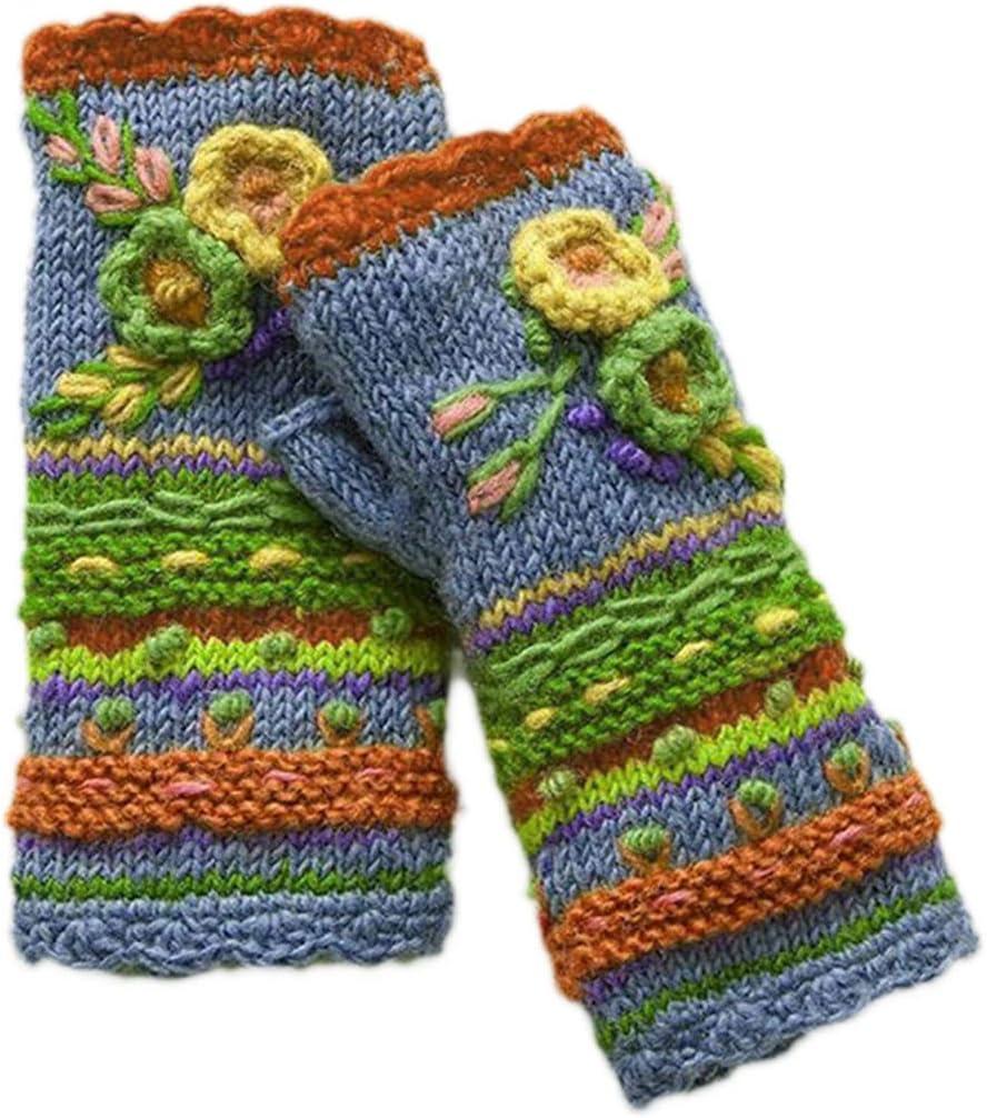 KYSA Wrist Warmer - Multicolor Fingerless Gloves - Knitted Crochet Floral Mittens - Half Finger Arm Warmers Sleeve - Winter Gift