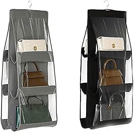 LXTaoler Organiseur de sac à main suspendu, 2 pièces 6 poches anti-poussière, sac de rangement pour armoire, placard, système d'organisateurs économisant de l'espace, lavable (noir+gris)