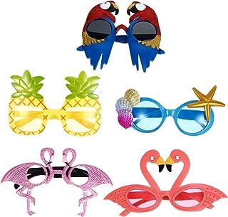 NUOBESTY 5pcs Tropical Party Glasses Cartoon Flamingo Bird Fruit Eyewear Photo Prop Hawaii Celebration Sunglasses for Chil...