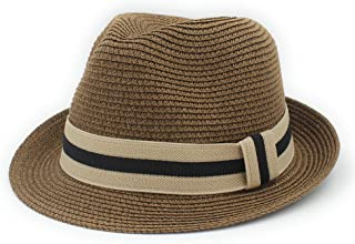 Fashio Straw Sun Hat Elegant Queen Homburg Panama Hat Gentleman TuanTuan (Color : Coffee, Size : 56-58CM)