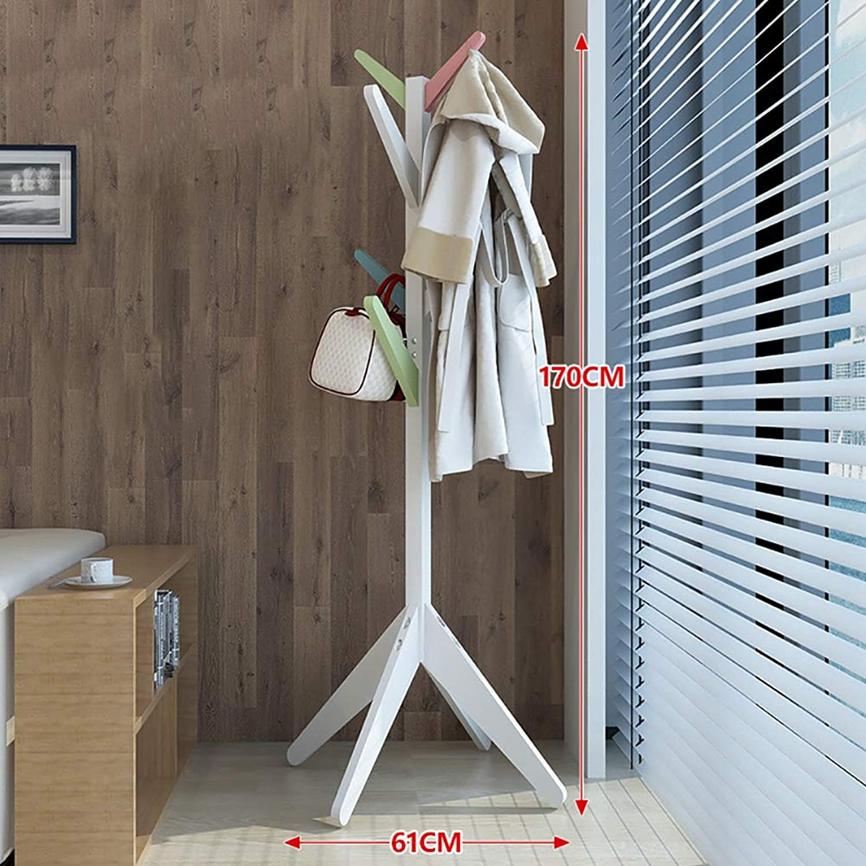 KTOL Stable Wood Coat Rack, Modern Free Standing Coat Tree 8 Hooks 69  H Non-Slip Easy Assembly Coat hat Holder for Scarf Hat Hanger-colorful 66.9in