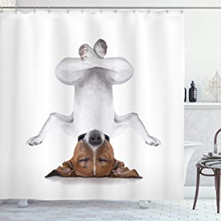 Ambesonne Yoga Shower Curtain, Dog Upside Down Relaxing with Closed Eyes Doing Yoga Calm Therapy Humor Animal Print, Cloth Fabric Bathroom Decor Set with Hooks, 70