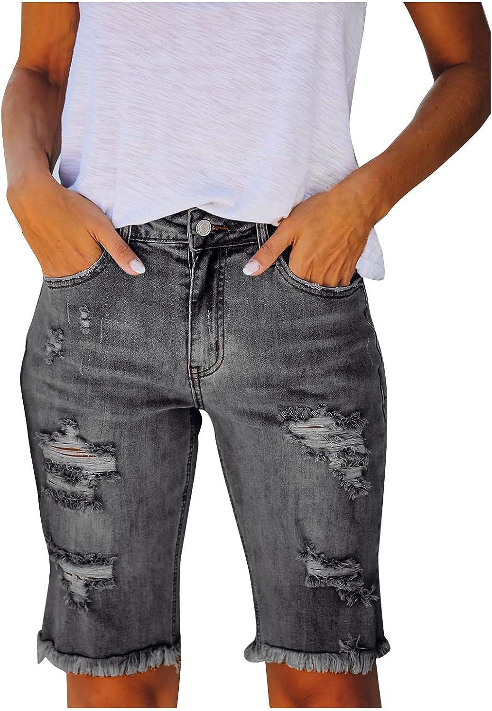 Jean Bermuda Shorts for Women Casual Summer High Waist Ripped Distressed Raw Hem Short Jeans