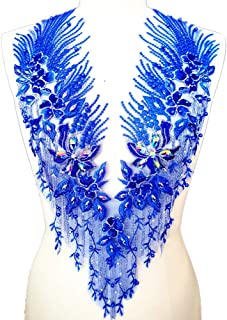 Lace Embroidered Pearl Rhinestone Patches Applique for DIY Fabric Trim Neckline Wedding Bridal Prom Dress Back Decoration (Blue, V-Neck)