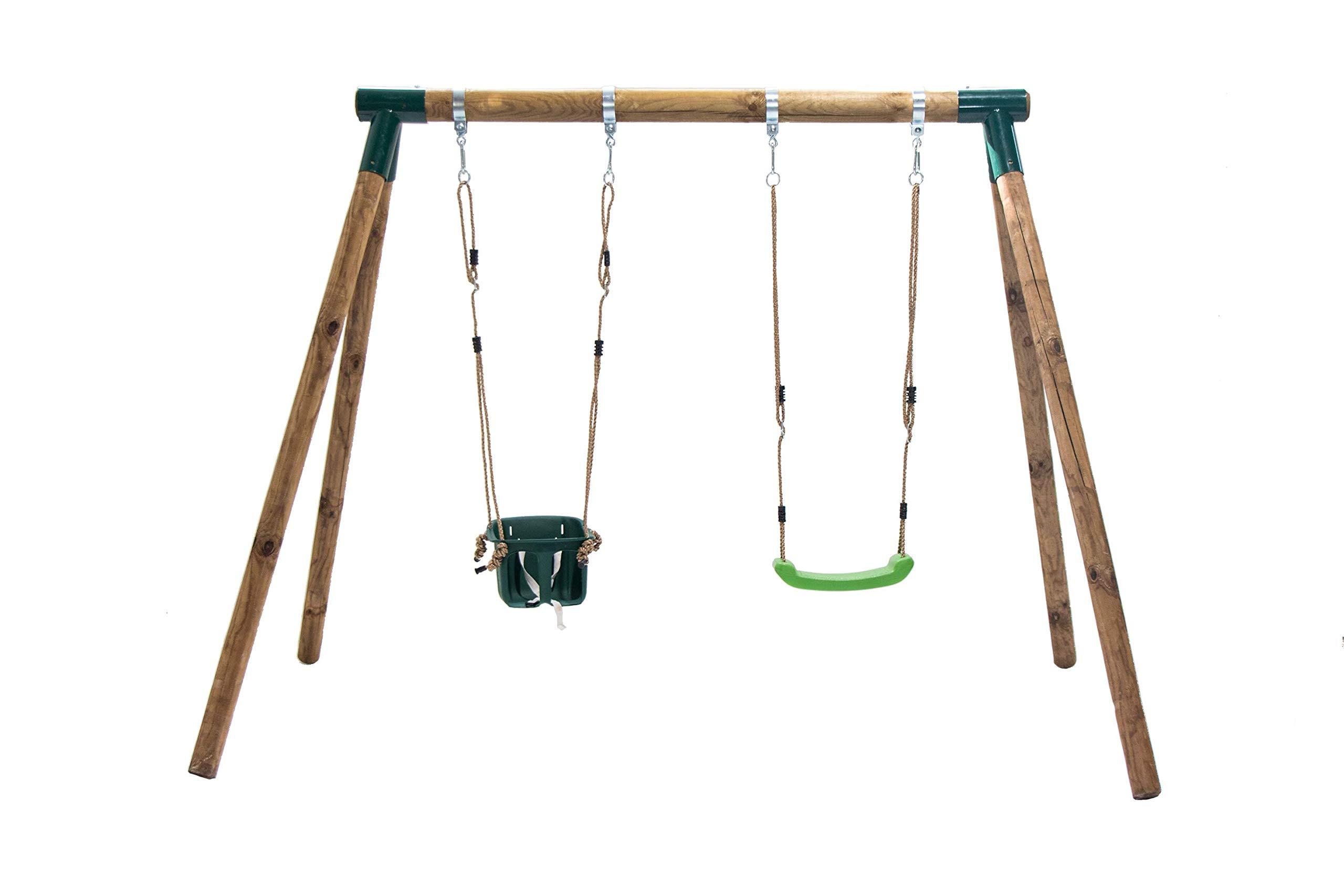 MASGAMES Columpio de Madera KADI con Asiento de Bebe y Asiento de plastico con Cuerdas: Amazon.es: Juguetes y juegos