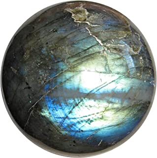 Satin Crystals Labradorite Sphere Crystal Healing Ball Zeus Sky God Protector Stone Charcoal Crackle Rainbow Lightning Collectible P02 (2.2 Inch)