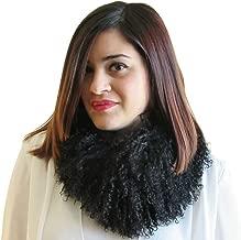 FursNewYork 4 In Wide Mongolian Lamb Headband, Neck Warmer & Collar