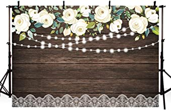 MEHOFOTO Happy Holiday Wood White Flowers Photography Backdrop Floral Rustic Wedding Lace Wooden Board Floor Background Bridal Shower Baby Shower Birthday Party Banner Photo Studio Props 7x5ft