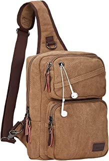 Modoker Men's Messenger Backpack Bag Sling Bags Crossbody Shoulder Backpack Canvas Chest Pack