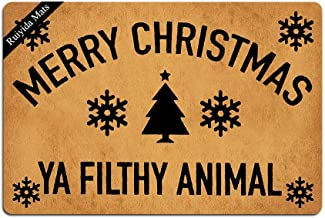 Ruiyida Merry Christmas Ya Filthy Animal Doormat Custom Home Living Decor Housewares Rugs and Mats State Indoor Gift Ideas 23.6 by 15.7 Inch Machine Washable Fabric Top