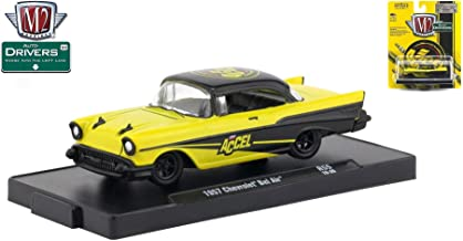 M2 Machines 1957 Chevrolet Bel Air (Accel) Auto-Drivers Release 55 - Castline 2019 Special Edition 1:64 Scale Die-Cast Vehicle & Custom Display Base (R55 18-35)