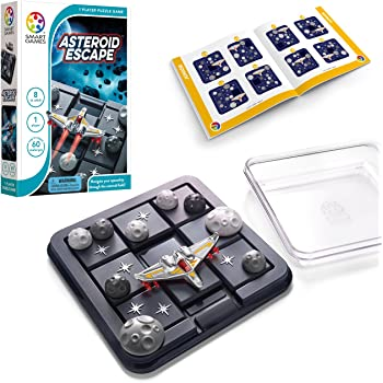 SmartGames Asteroid Escape, a Sliding Puzzle Travel Game for Kids and Adults, a Cosmic Cognitive Skill-Building Brain Game - Brain Teaser for Ages 8 & Up, 60 Challenges in Travel-Friendly Case.