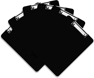 Porte Bloc Plastique (Lot de 6) - A4 Noir Presse-Papiers avec Pince à Ressort et Trou de Suspension - Presse-Papier Durabl...