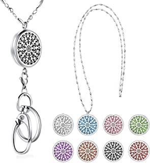 SAM & LORI Strong Lanyard Necklace Stainless Steel Beaded Chain Necklace Silver for ID Badge Holder and Key Chains Non Breakaway Inspirational Charms Pendant for Women Nurse Student Diffuser Flower