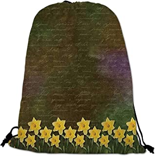 Daffodil Lightweight Drawstring Bag,Bunch of Potted Daffodils under Calligraphy Lettering Featured Flower of Spring for Travel Shopping,One_Size