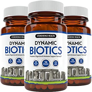 Stonehenge Health Dynamic Biotics - Probiotic w/ 50+ Billion CFU, 16 Strains + Prebiotic, Lactobacillus Acidophilus, Guaranteed Potency, Delay Release, Non-GMO Gluten Soy Free Vegetarian Caps (3 Pack)