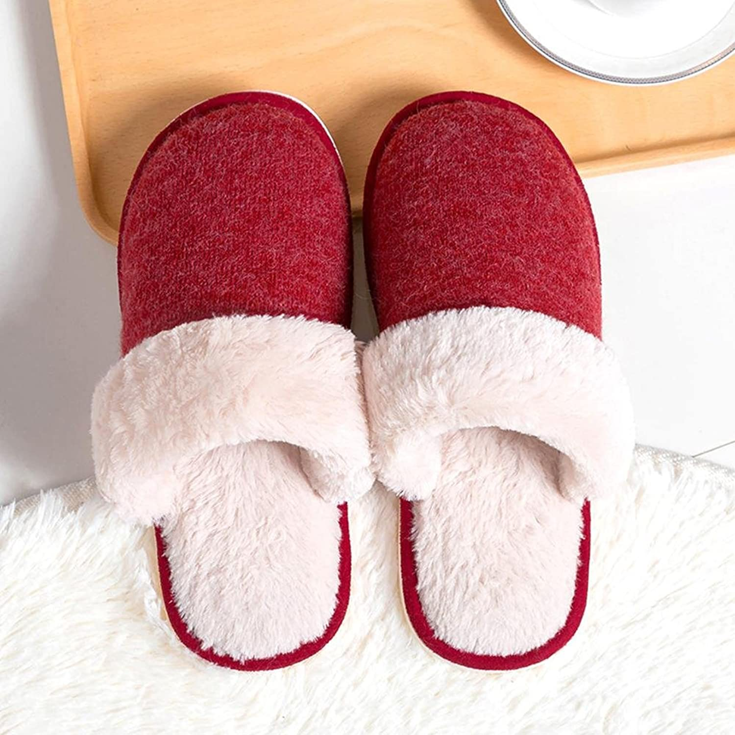 Winter Women Slippers Plush Home shoes Unisex Warm Home Indoor Floor shoes , red , 38