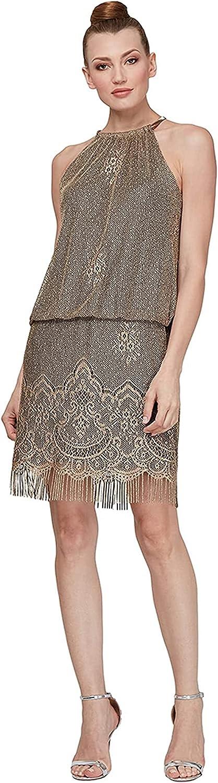 S.L. Fashions Women's Blouson Halter Crochet Fringe Hem Short Dress (Missy Petite)