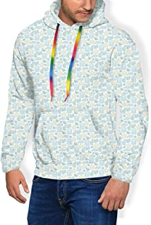 GULTMEE Men's Hoodies Sweatershirt, Crab and Fish in a Cartoon Illustration of Underwater Fauna,5 Size