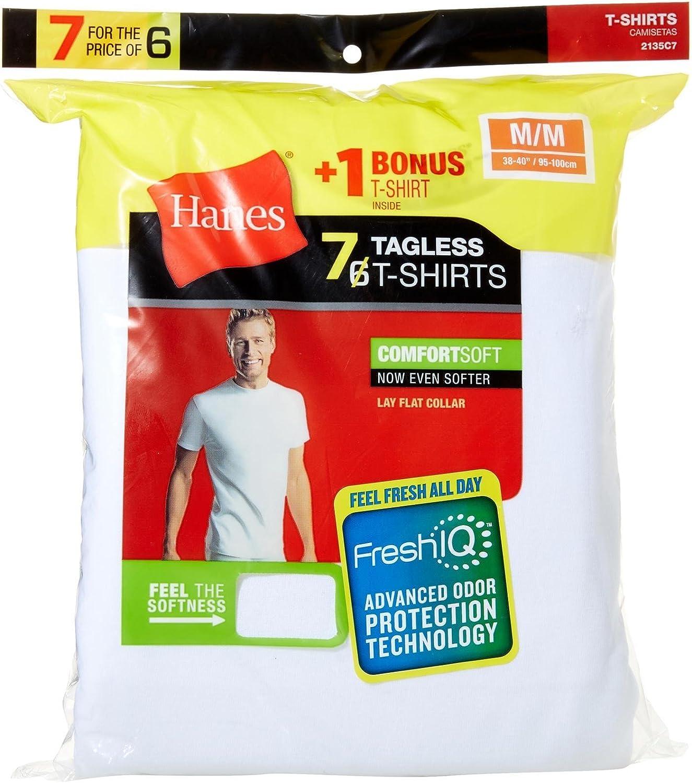 Hanes Blanc Lay Plat Col Hommes X-Temp 3-Pack Tagless ras-du-cou T-shirt Neuf avec étiquettes