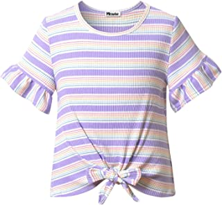 Girl's Top Short Sleeve Tie Front Knot Casual Striped Tops Tee Summer T Shirt 4-13Y