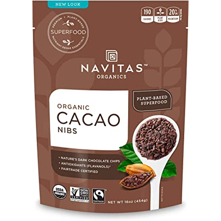 Navitas Organics Raw Cacao Nibs 16oz. bag, 15 servings — Organic, Non-GMO, Fair Trade, Gluten-Free (Pack of 2)
