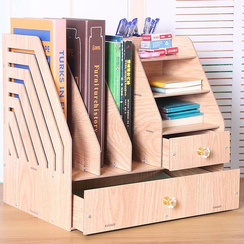 Chuangshengnet Creative Computer Desk Combination Wooden Shelves Desktop bookcases Simple Shelves Small Office Shelves Shelf (color   Wood)