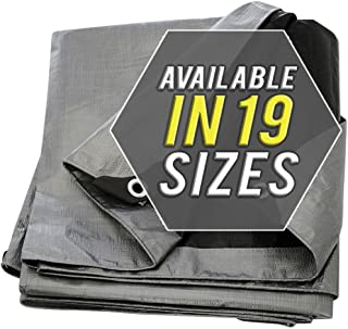 Tarp Cover 12X12 Silver/Black 2-Pack Extremely Heavy Duty 20 Mil Thick Material, Waterproof, Great for Tarpaulin Canopy Tent, Boat, RV Or Pool Cover!!! (12X12)