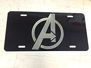 Diamond Etched Avengers Logo Car Tag on Aluminum License Plate