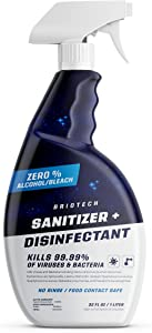 BRIOTECH Sanitizer + Disinfectant, Kills 99.99% of Viruses & Bacteria, HOCl Hypochlorous Spray, 0% Bleach 0% Alcohol, Food Contact Safe, Eliminate Non-Living Allergens & Remove Pet Odor (32 Fl Oz)