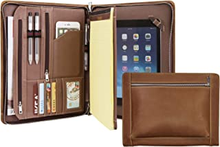 Handcrafted Vintage Leather Portfolio, Business Zipper Document Folder for Letter Size Notepad, Tablet Padfolio Case, Crazy Horse Cow Leather (9.7-inch iPad)