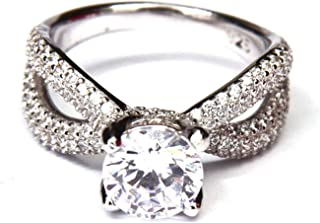 SILVER 925 WOMEN RING WHITE CRTYSTAL STONE WITH ZIRCON MVLRING17