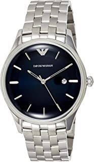 Emporio Armani Men's Lambda Analog-Quartz Watch with Stainless-Steel Strap, Silver, 22 (Model: AR11019)