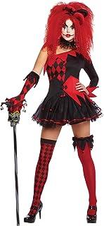 Amscan 996205 Harlekijn clown, jurk, haarband, handschoenen, overknees, shorts, korsettriem, stormband, kraag, Halloween, ...