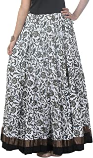 NIKA Cotton Printed Long Skirt White