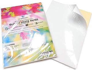 Lot de 50 feuilles de papier d'impression autocollantes - Format A4 - Blanc brillant
