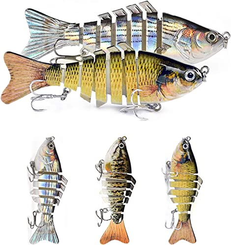 lowest iKiKin Fishing Lures for Bass Trout Segmented Multi Jointed Swimbaits Slow Sinking Bionic Swimming Lures Fishing Lures new arrival outlet sale Kit for Freshwater Saltwater Pack of 3 outlet online sale