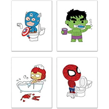 Set of 4 Super Hero Captions Artwork Prints Picture Poster Home Office Bedroom Nursery Wall Decor unframed
