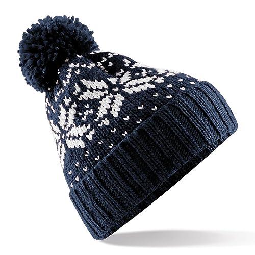 Beechfield Unisex Fair Isle Snowstar Winter Beanie Hat 2d7537dfd604