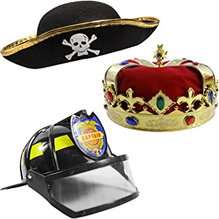 Funny Party Hats Dress Up Hats for Kids – 3 Costume Hats , King Crown , Pirate Hat , Fireman Hat - Dress Up Clothes