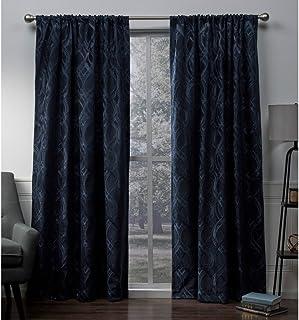 Exclusive Home Elena Wave Chenille Rod Pocket Curtain Panel Pair, Indigo, 52x96