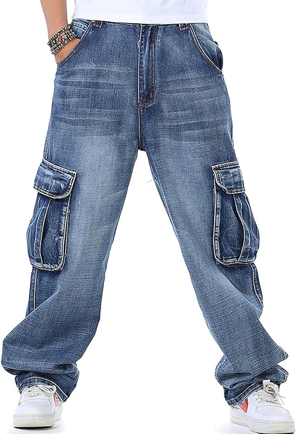 SOMYFLYY Men's Relaxed Fit Cargo Jeans - Stretch Straight Leg Multi-Pockets Outdoor Denim Work Cargo Pants